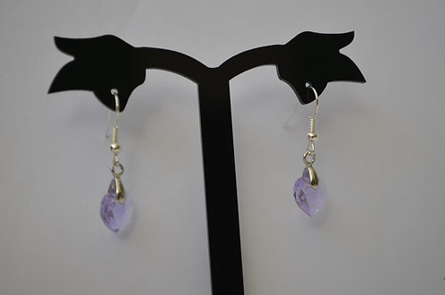 SW23 Violet Swarovski Crystal Heart earrings,10mm