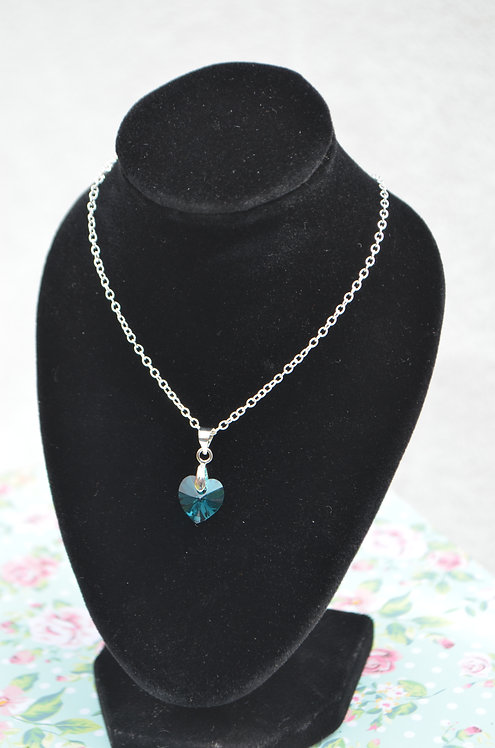 SW68 Blue Zircon Crystal Heart Necklace,10mm