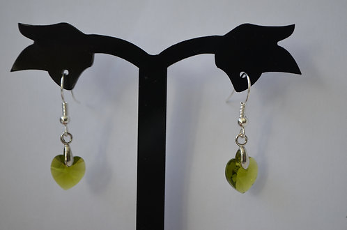 SW38 Olivine Swarovski Crystal Heart earrings,10mm