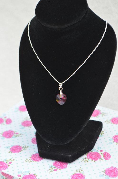 SW01 Fucshia Swarovski Crystal Heart Necklace,10mm