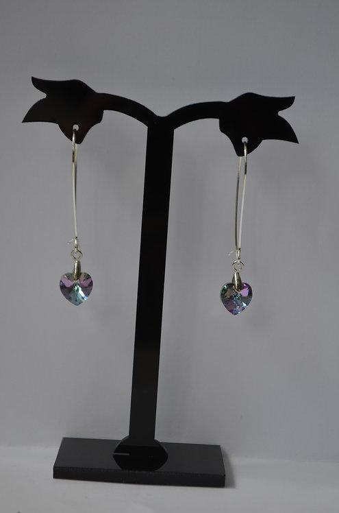 Vitrail Light Swarovski Heart earrings,10mm
