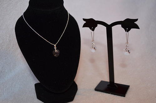 Crystal Swarovski Heart necklace and earring set