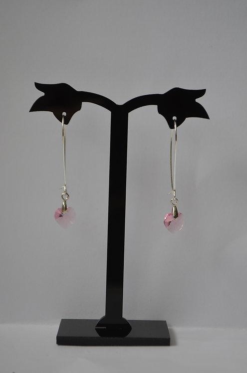 SW35 Light Rose  Crystal Heart earrings,10mm