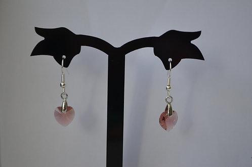 SW42 Swarovski Heart earrings,10mm Blush Rose