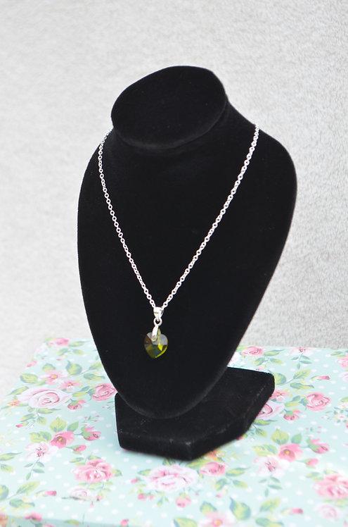SW80 Olivine Swarovski Crystal Heart Necklace,10mm