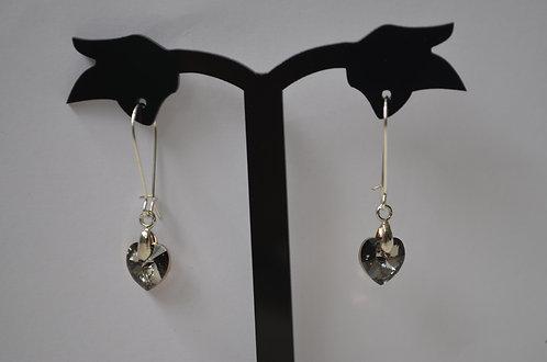 Swarovski Crystal Heart Earrings,10mm Crystal AB