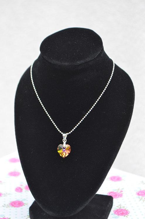 SW66 Vitrail Light Swarovski Heart Necklace,10mm