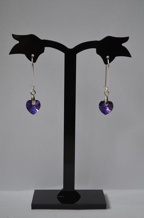 Heliotrope Swarovski Heart earrings,10mm