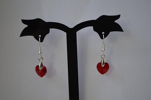 Siam Swarovski Crystal Heart earrings,10mm