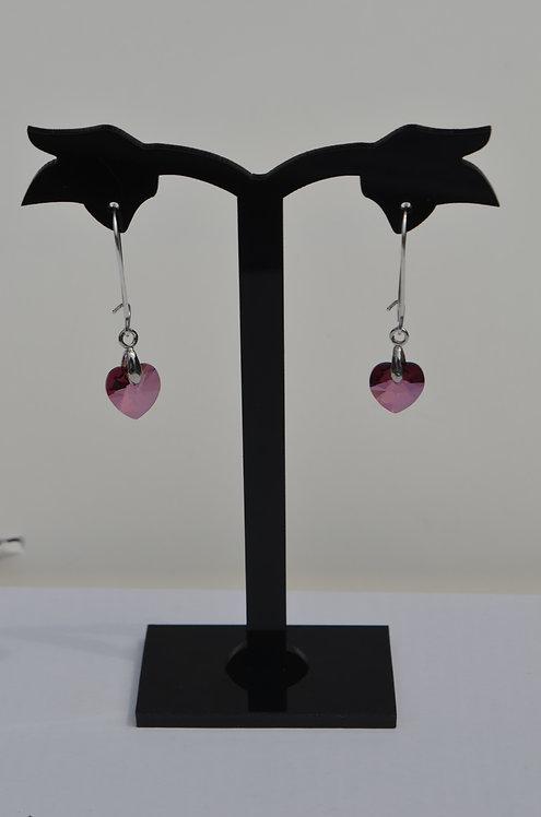 SW46 Lilac Shadow Swarovski  Heart earrings,10mm