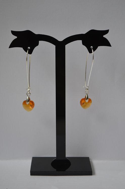 Topaz Swarovski Crystal Heart earrings,10mm