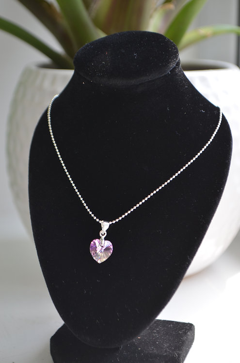 Violet AB Swarovski Crystal Heart Necklace,10mm