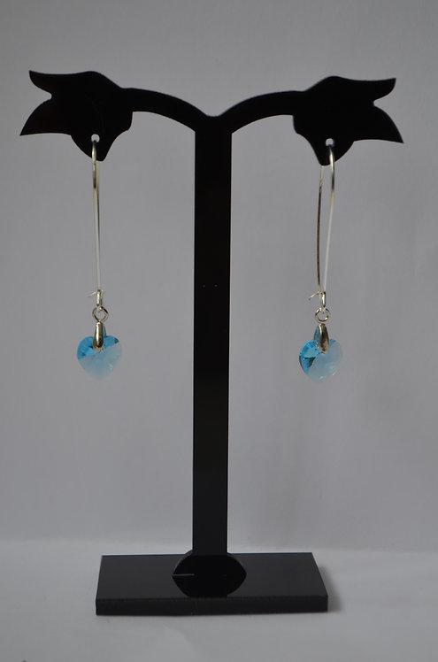 SW29 Aquamarine Crystal Heart earrings,10mm