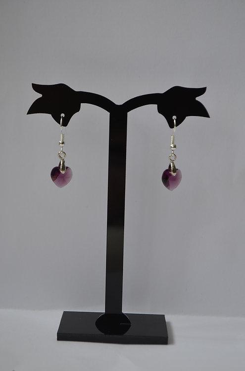 SW40 Amethyst Crystal Heart earrings,10mm