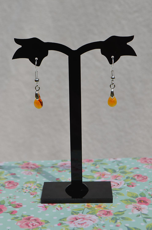 SW15 Tangerine Crystal Drop Earrings