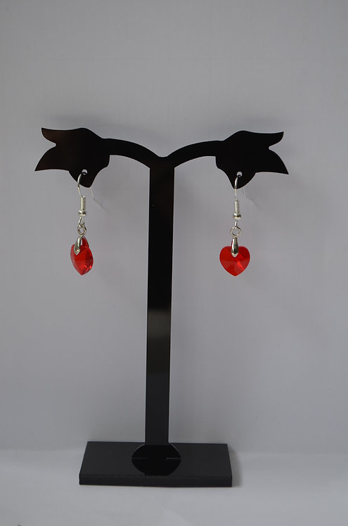 SW36 Light Siam Crystal Heart earrings,10mm