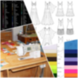 Dress sketches, fabric samples, rhinestone color chart, sewing machine