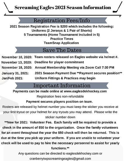 2021 Screaming Eagles Registration Infor