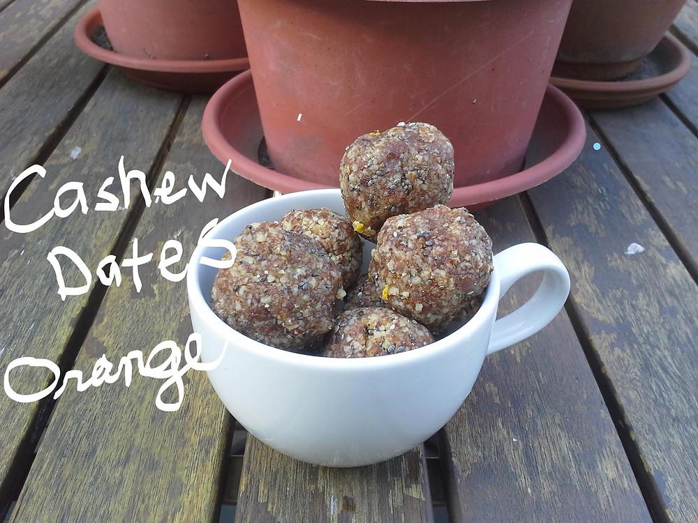 Energy Balls Made of Cashews, Dates and Orange
