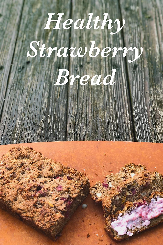 Healthy, strawberry whole wheat quick bread.