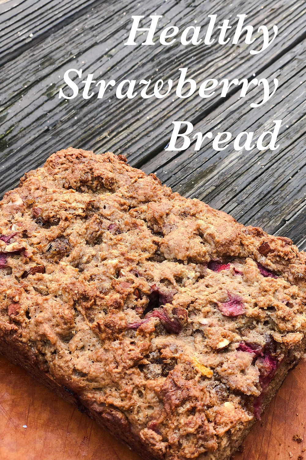 Quick and healthy breakfast bread made of whole wheat and strawberries