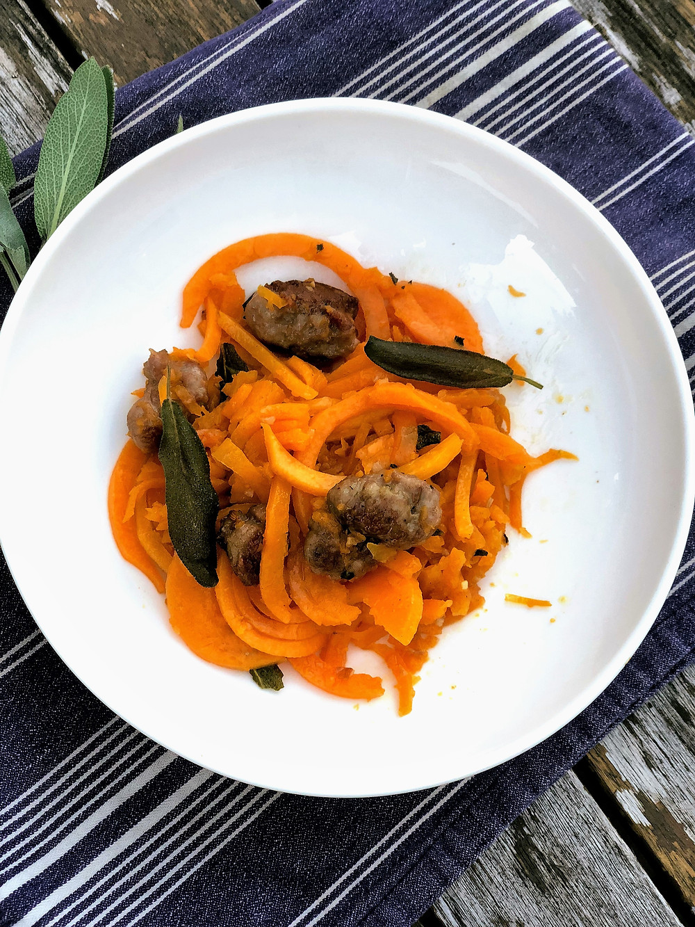 Quick, healthy dinner of spiralized butternut squash