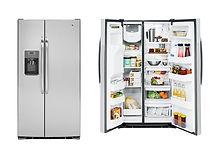 refrigerator and  freezer door open