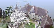 Vue du Château de Veauce réalisée par un laser scanner 3D - La vue est un nuage de point