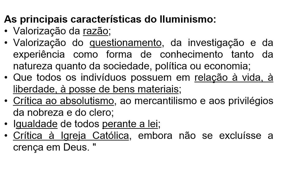 ESQUEMA - CARACTERÍSTICAS DO ILUMINISMO.