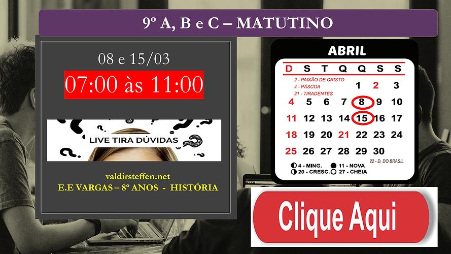 LIVE AO VIVO - 9º e 8  ANOS PARA APC OAP