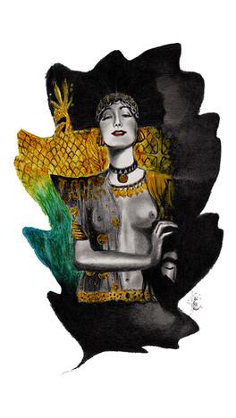 GIUDITTA DA KLIMT - Rivisitazione della Giuditta I di Klimt - matite, acquerello, gesso acrilico