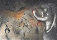 ARTISTA PREISTORICO - Matite e gesso acrilico