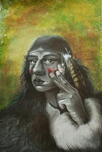 Ragazza Neandertal - matite colorate, matite e polvere di grafite, acquerelli, gesso acrilico