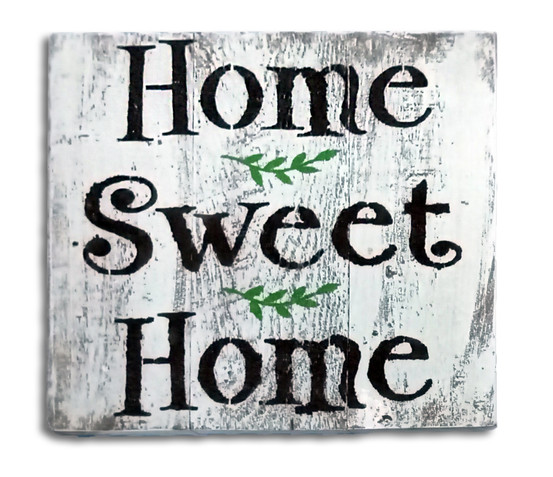 שלט וינטג עם ענפי זית home sweet home