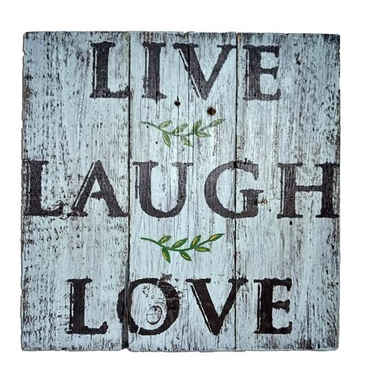 שלט וינטג עם ענפי זית live laugh love