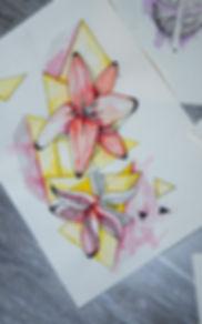 grafisches Kunstwerk in Gelb, Orange, mit schwarzes linearen Elementen