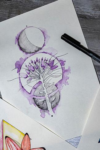 Grafik, Floral, Muster, Pflanze, Knospen