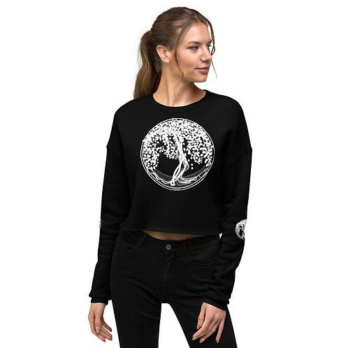 Crop Sweatshirt mit Yggdrasil Druck