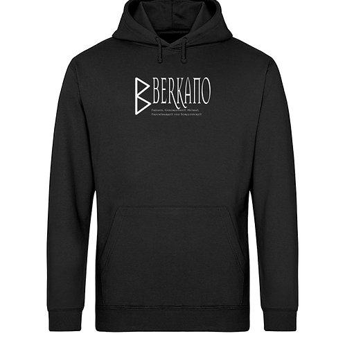 Rune - Berkano - Schriftzug Weiß  - Unisex Organic Hoodie