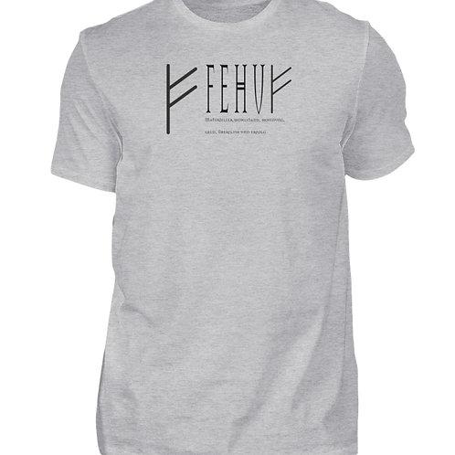 Rune - Fehu  - Schriftzug schwarz  - Herren Shirt