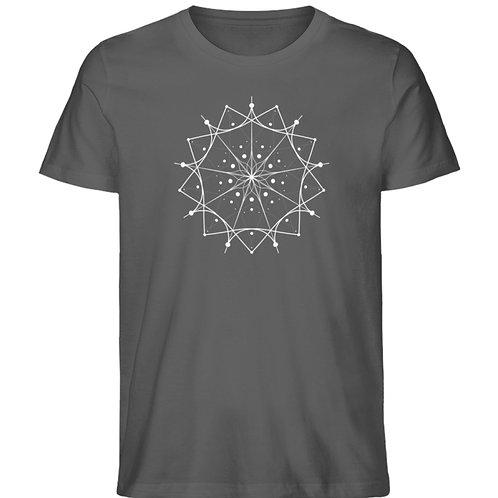 Mandala mit weißen Linien und Punkten  - Herren Premium Organic Shirt