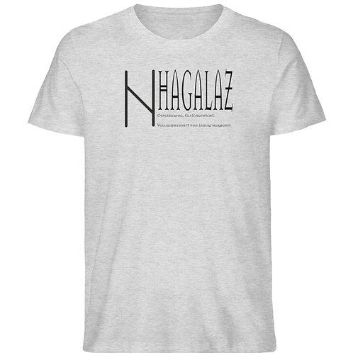 Rune -Hagalaz  - Schriftzug schwarz  - Herren Organic Melange Shirt