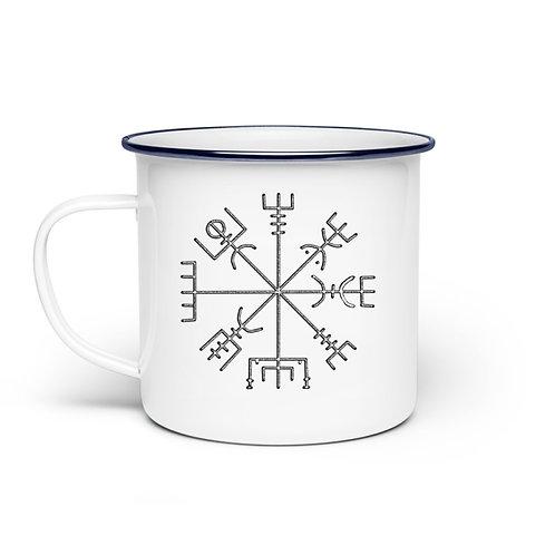 Vegvisir - Runen - Kompass - Viking   - Emaille Tasse