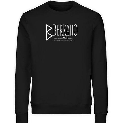 Rune - Berkano - Schriftzug Weiß  - Unisex Organic Sweatshirt
