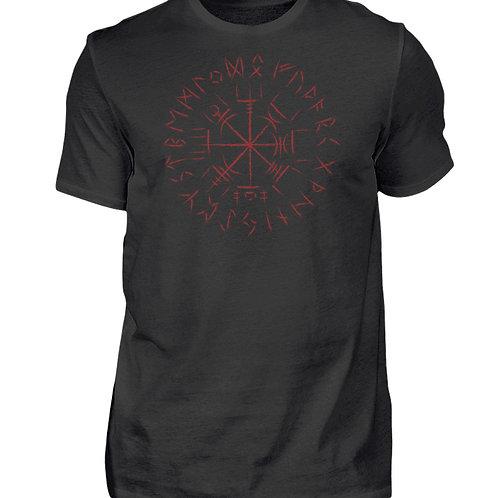 Cooles Vegvisir Design mit dunkelroten Runen  - Herren Shirt