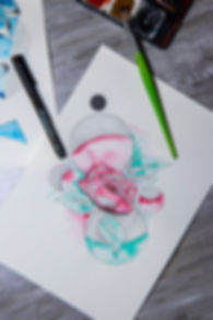 Rose, Grafik, Rot, Grün, Filzstift, Blätter, Pflanze, Blüte