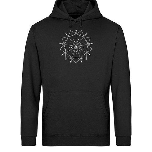 Mandala mit weißen Linien und Punkten  - Unisex Organic Hoodie