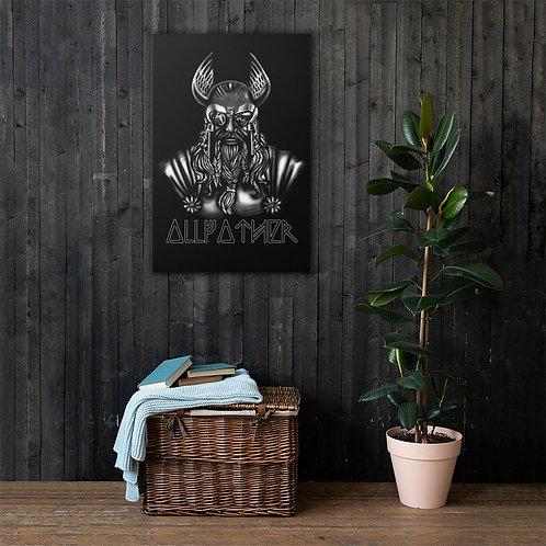 Beeindruckende Leinwand mit Odin Druck - Wotan - Allfather - Runes