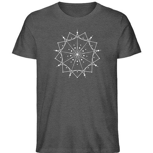 Mandala mit weißen Linien und Punkten  - Herren Organic Melange Shirt