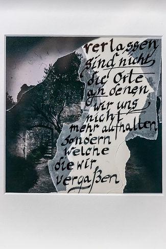 Collage einer Burg ,Baum Vordergrunnd, nachdenklich, poetisch, düster, dunkel